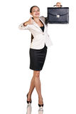 Successful business woman. With briefcase isolated on white Royalty Free Stock Photos
