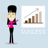 Successful business woman. Cartoon character.Vector Illustration Royalty Free Stock Photography
