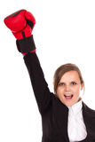 Successful business woman celebrating with one arm in air wearin Stock Image
