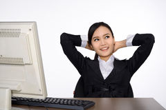 Successful business woman with computer Stock Photography