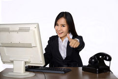 Successful business woman with computer Royalty Free Stock Images