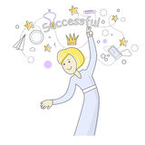Successful Business Woman Dancing. Queen of Office Stock Images