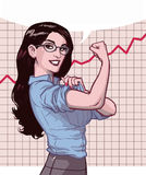 Successful Business Woman Graph. Illustration of a smiling black haired blue eyed businesswoman with strong arms in front of successful increasing graph on white Stock Images