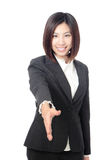 Successful business woman hand to greet Stock Photo