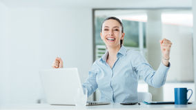 Successful business woman in her office Stock Photography