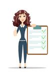 Successful Business Woman Hold Contract. Sign Document and showing thumbs up. Flat Vector Illustration Stock Photo