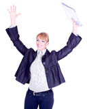 Successful business woman holding document folder Stock Image