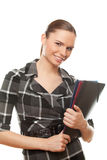 Successful business woman holding documents Stock Photo