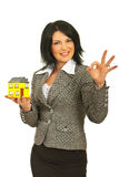 Successful business woman with house Stock Photos