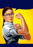 Strong Business Woman. Illustration of a smiling black haired business woman with strong arms. You can find other business women in my portfolio Royalty Free Stock Photography