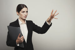 Successful business woman isolated holding hand Royalty Free Stock Photos