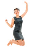 Successful business woman jumping Stock Image