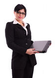 Successful business woman with laptop. Isolated over white background Royalty Free Stock Photo