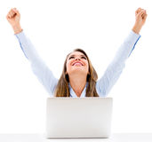 Successful business woman with laptop Royalty Free Stock Images