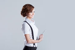Successful business woman, with laptop in hand Royalty Free Stock Photo