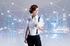 Successful business woman,  with laptop in hand Stock Images