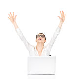 Successful business woman raised hands up. Successful business woman with laptop raised hands up - isolated on white Royalty Free Stock Photo