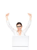Successful business woman raised hands up. Successful business woman with laptop raised hands up - isolated on white Royalty Free Stock Images