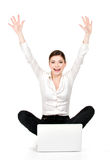 Successful business woman raised hands up. Successful business woman with laptop raised hands up - isolated on white royalty free stock photos
