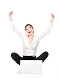 Successful business woman raised hands up. Successful business woman with laptop raised hands up - isolated on white Stock Images