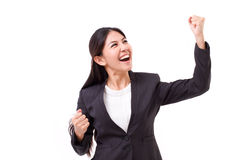 Successful business woman looking up Stock Image