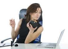 Successful business woman making up looking someth stock photo
