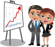Successful Business Woman Man Looking Graph. Hugged Cartoon business woman Meg and business man Bob who are happy looking at positive trend graph isolated on Royalty Free Stock Photography