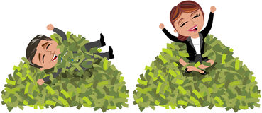 Successful Business Woman and Man Mountain Money. Illustration featuring cartoon business woman Meg and business man Bob exulting sit and laid back on mountain Royalty Free Stock Photography