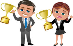 Successful Business Woman and Man with Trophy. Cartoon business woman Meg and business man Bob exulting for achieving good results holding trophy isolated on Stock Photo