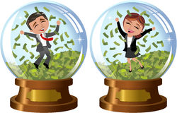 Successful People in Snowglobe under Money Rain. Illustration featuring cartoon business woman Meg and business man Bob exulting and jumping under money rain Royalty Free Stock Photo