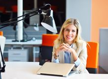 Successful business woman and man working at the office.  royalty free stock images