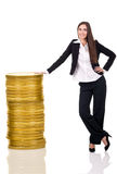 Successful business woman with money Royalty Free Stock Photo