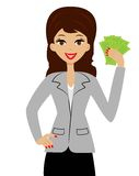 Successful business woman with money in hands Royalty Free Stock Image