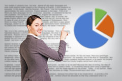 Successful business woman near diagram Stock Photography