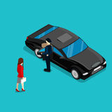 Successful Business Woman Near Luxury Car. Isometric People Royalty Free Stock Images