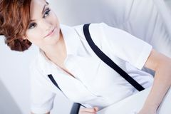 Successful business woman in the office looking Stock Photo
