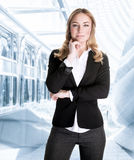 Successful business woman. In the office, waiting for a meeting, beautiful young CEO of great corporation, careerism concept Stock Photos