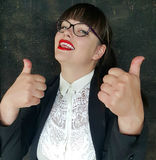 Successful business woman with ok hand sign Royalty Free Stock Image