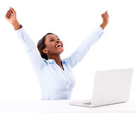 Successful business woman online Stock Photography