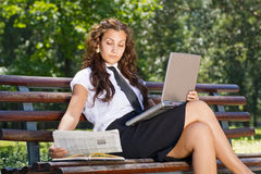 Successful business woman in park outdoor Royalty Free Stock Photos