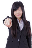 Successful business woman pointing at you and smiling Stock Image