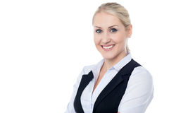 Successful business woman portrait. Portrait of charming young business lady Stock Photography