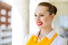 Successful business woman. Portrait of a young attractive business woman smiling and looking ahead Stock Photos