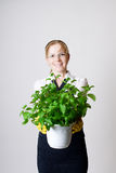 Successful business woman. With a potted plant in the hands Stock Image