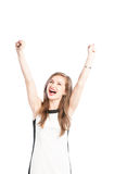 Successful business woman rasing arms up in the air. And screaming Royalty Free Stock Photography