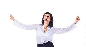 Successful business woman, rejoice Royalty Free Stock Photography