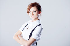 Successful business woman, in shirt on white Royalty Free Stock Image