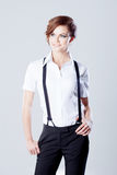Successful business woman, in shirt on white Royalty Free Stock Photography