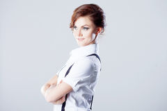 Successful business woman, in shirt on white Stock Images
