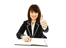 Successful business woman showing thumbs up sign Royalty Free Stock Photo
